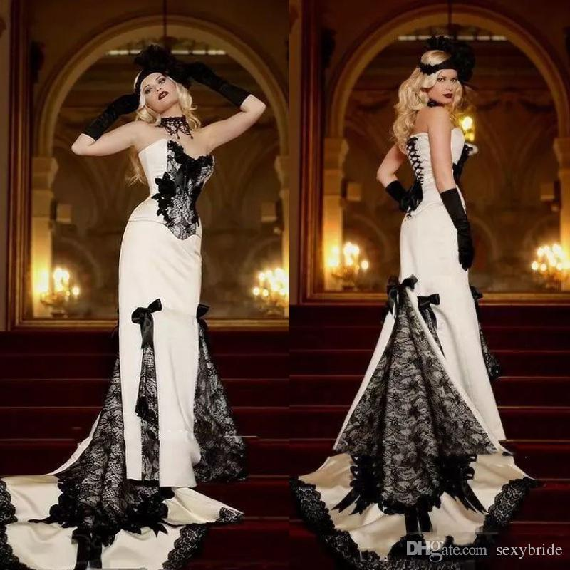 Vintage Black And White Mermaid Wedding Dresses Satin Lace Strapless