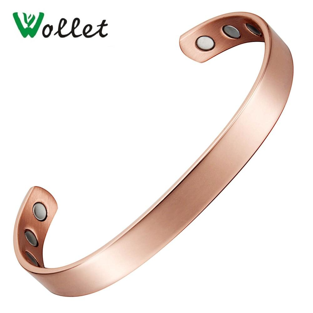 Wollet Jewelry Pure Copper Bio Magnetic Bracelet Bangles for Men Women Rose Gold Open Cuff Anti Arthritis Rheumatism Health