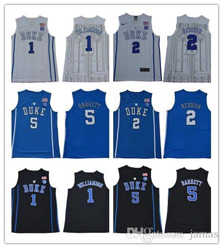 8d355cb75476 2019 2019 Men S NCAA Duke Blue Devils Jersey 1 Zion Williamson 5 RJ Barrett  2 Reddish Royal Blue Black White College Basketball Jerseys From Jamas
