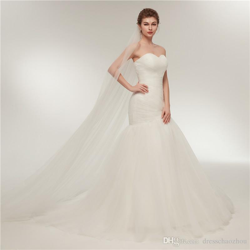 21169e0ec8378 Simple Mermaid Wedding Dresses Tube Top Thin Mesh Pleated Bridal Dress Size  Can Be Adjusted 100% Of Own Factory Production Sweetheart Mermaid Wedding  ...