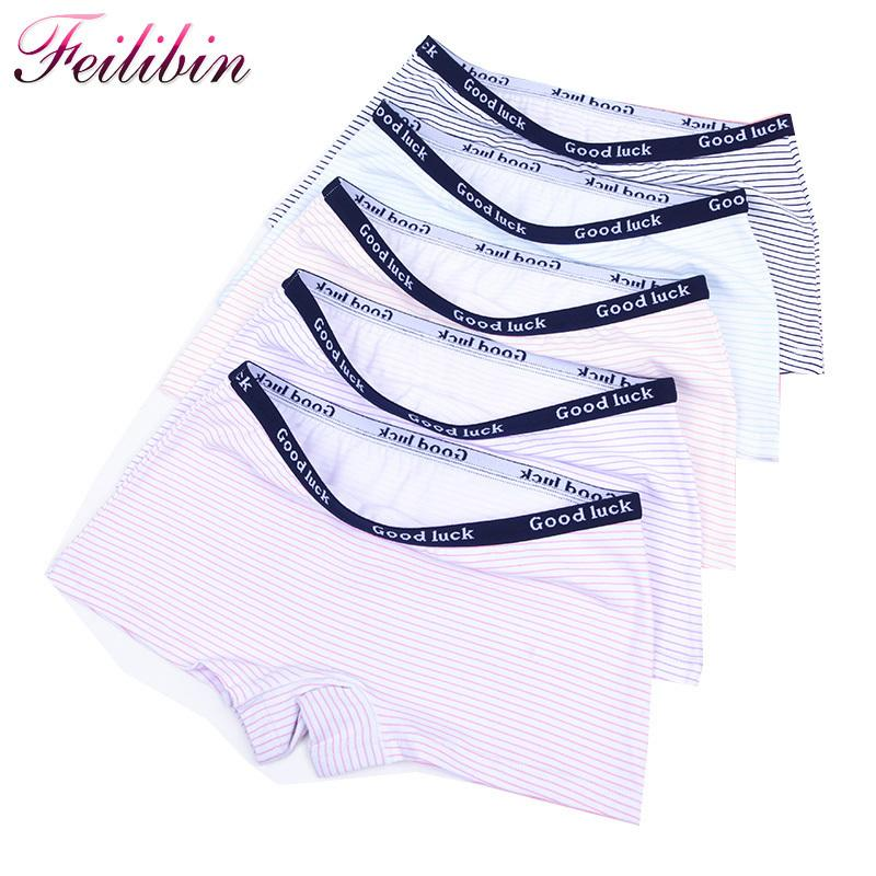 Feilibin 5pcs/lot Cotton Panties Women's Boyshort New Female Breathable Pants Ladies Underwear Girls Underpant Fat Boxer Shorts Q190525
