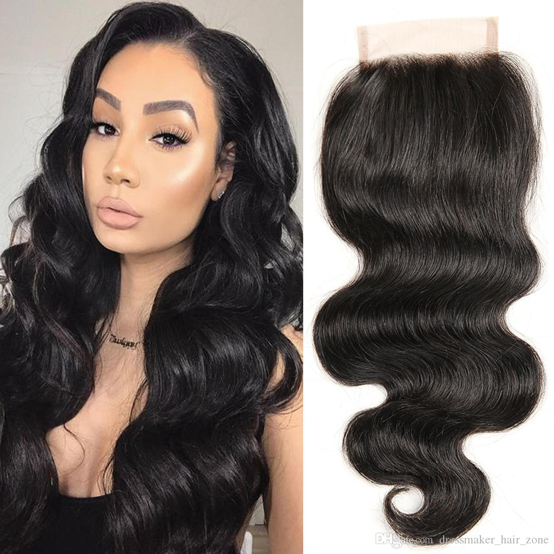 Dressmaker Peruvian Hair One Piece Closure 4x4 Body Wave Peruvian Virgin Hair Closures with Baby Hair Free Part Natural Color