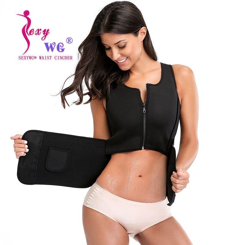 a95139442c 2019 SEXYWG Sportwear Women Yoga Shirt Hot Sweat Sauna Suit Neoprene Waist  Trainer Body Shaper Slimming Sport Tank Top Blouse Zipper  354757 From  Move up