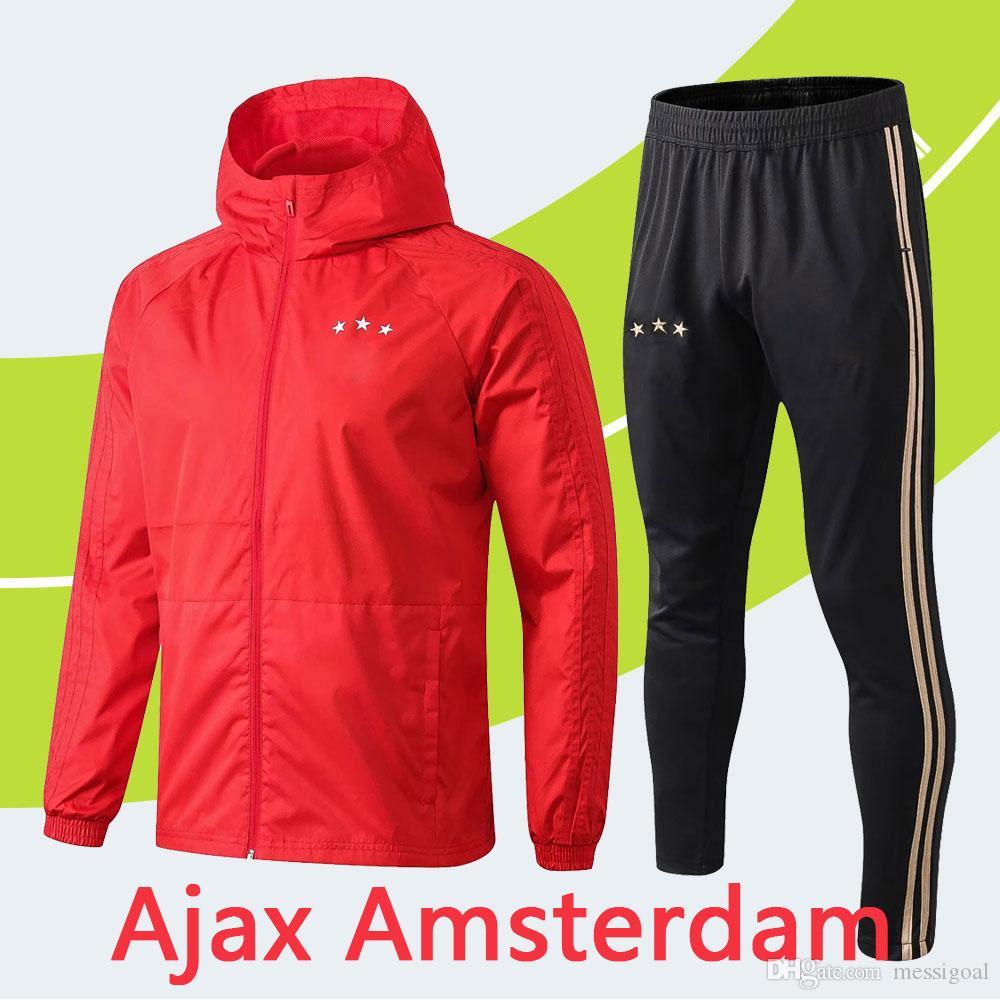 e4962b90b37c04 2019 High Quality 2019 Ajax Windbreaker With Hat Ajax Amsterdam Wind Coat  Tracksuit Training Pants Training Suit Ajax Jacket Football Dust Coat From  ...