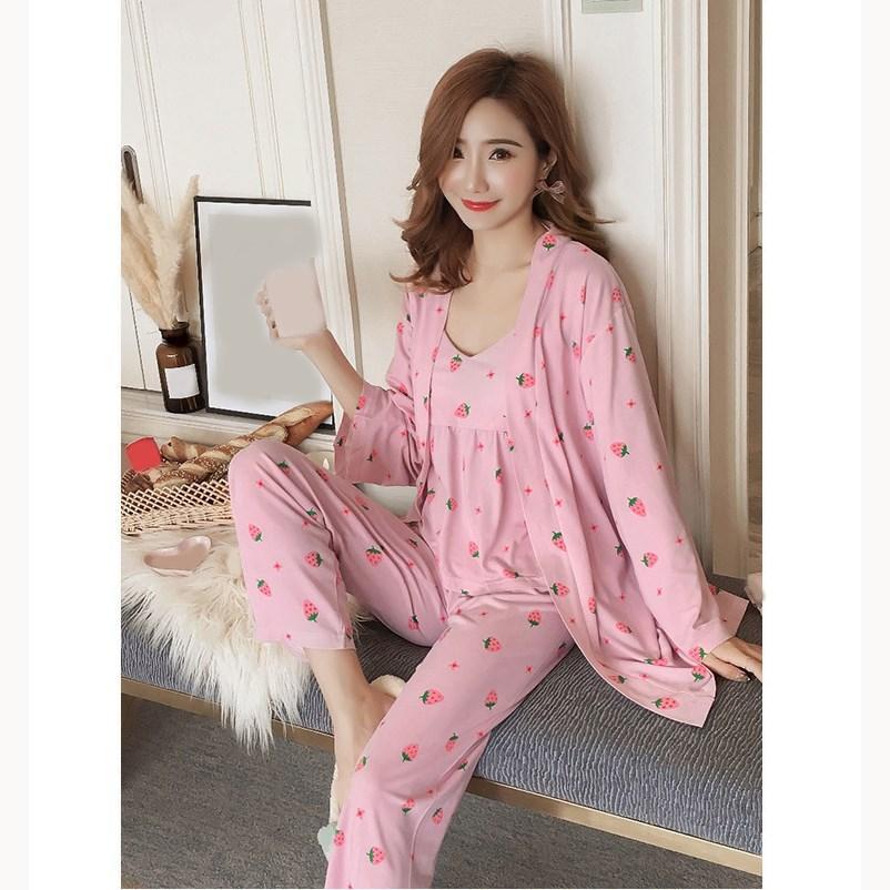 08a3ac9c74 Compre Tres Piezas Para Mujer Sexy Sling Pijamas Set De Manga Larga Kimono  Robe Pantalones Pijamas Set Mujeres Camisón Fino Ropa De Dormir A  25.13  Del ...