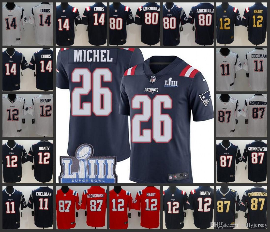 best sneakers 63e9e 7bfea Super Men Bowl New Englan Women Patriots Limited Jersey #12 Tom Brady 87  Rob Gronkowski 26 Sony Michel 11 Julian Edelman Youth Jerseys