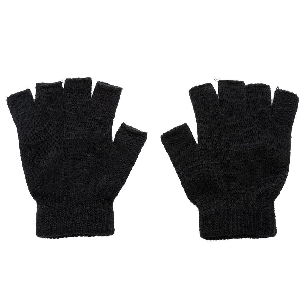 1 Pair Winter Outdoor Black Knitted Fingerless Gloves Men Knitted Stretch Elastic Warm Half Finger Gloves Autumn Winter Fashion