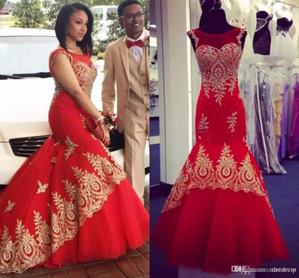 68578d9853f Plus Size Mermaid Red Evening Dresses With Gold Applique Long South African  Prom Dress Jewel Neck Formal Party Gowns Custom Made Dress Modest Prom  Dresses ...
