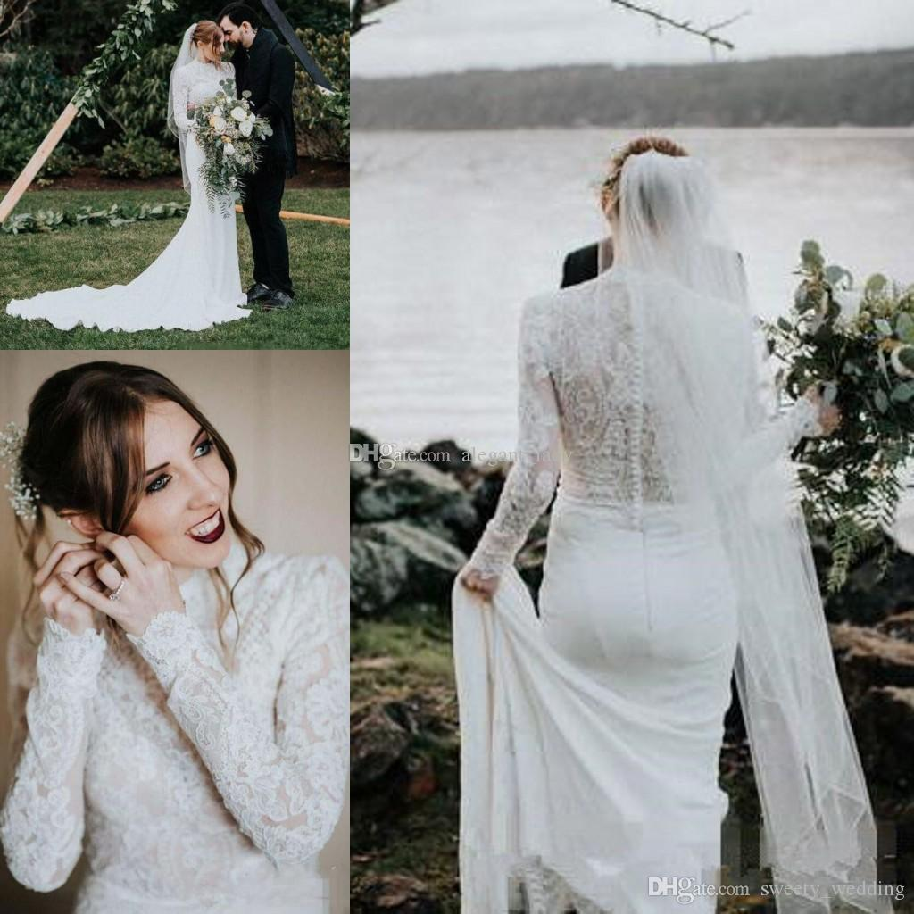 b0062fb3aa691 High Neck Country Mermaid Wedding Dresses with Long Sleeve 2019 Simple Lace  Stain Muslim Hijab Style Bohemian Trumpet Wedding Gown