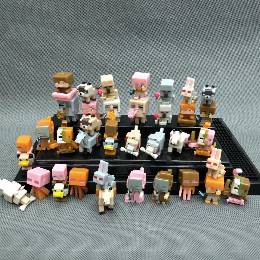 36 pçs / lote Minecraft Figuras de Ação Brinquedos Mini Personagens Cabide  Bonito Minecraft 3D Modelos Figura Jogos Blocos Coleção Presente # E