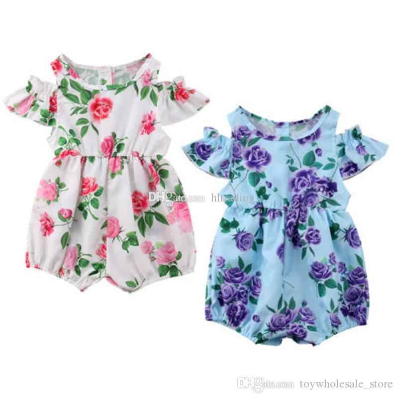 b4b2aa8f1 2019 Baby Girls Floral Print Romper 2019 Summer Boutique Flower ...