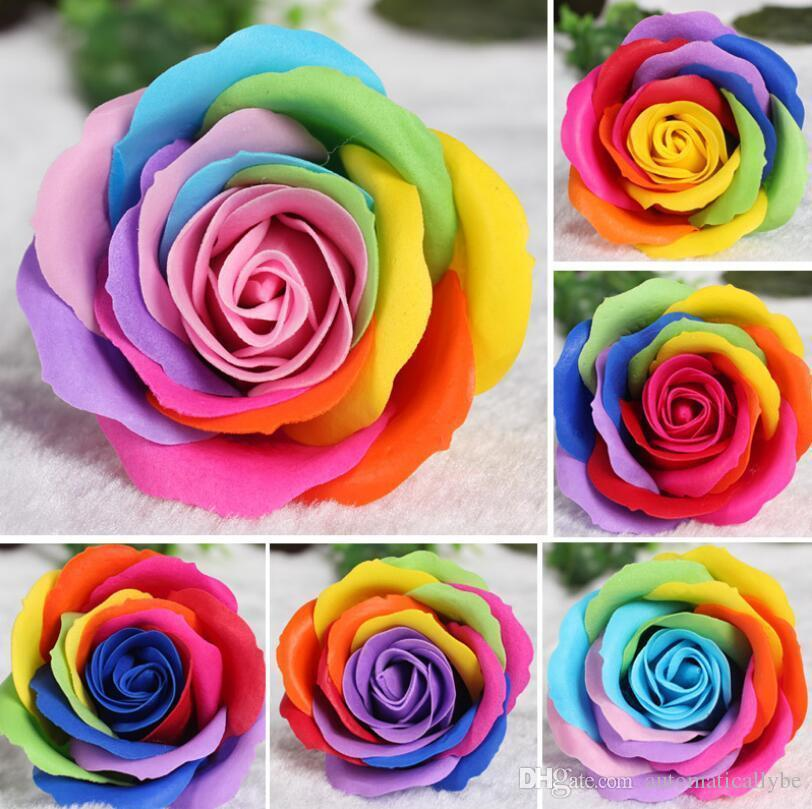 Rainbow color Rose Soaps Flower Packed Wedding Supplies Gifts Event Party Goods Favor Toilet soap Scented bathroom accessories