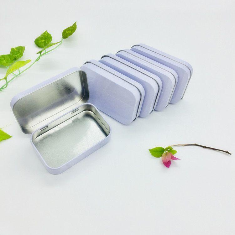 2018 New Arrival White Hinge Tin Box Rectangle Gift Box Sealing Plain Tin Box 95x60x21mm 100pcs Lot