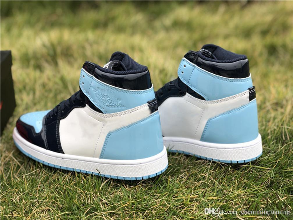 1714b219047 2019 2019 High 1 OG Retro WMNS ASG UNC Patent Basketball Shoes Man Obsidian  Blue Chill White 1S Sports Boots Retro Sneakers CD0461 401 Size 36 46 From  ...