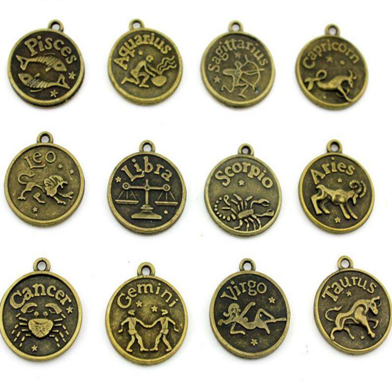 Antique Bronze 12 Constellation Metal Zodiac Sign Pendant  Leo/Aries/Taurus/Gemini /Cancer/Virgo/Pisces Charms For Women Jewelry