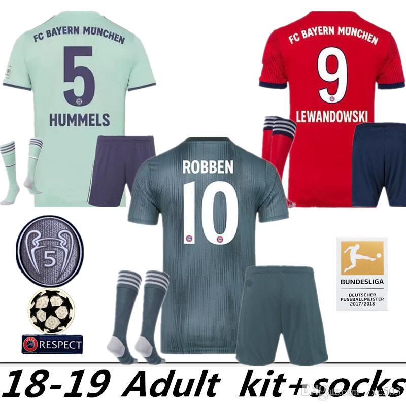 new style ff221 393a8 2018 2019 Bayern Munich Soccer 5 Mats Hummels Jersey Set Bundesliga 9  Robert Lewandowski 11 James Rodriguez Red Football Shirt Kit Uniform