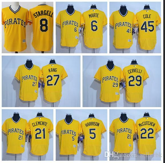 c72a9b885 2019 Burgh Pirates 21 Roberto Clemente 8 Stargell Roberto Clemente Majestic Gold  Alternate Cool Base Player Jersey From Sellerbk, $29.24 | DHgate.Com