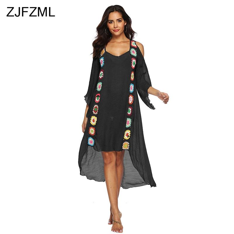 ZJFZML Plus Size Beach Dress Women Casual Tunic Ladies Dresses Black White  Knitted Hand Hook Flower Loose Boho Bohemian Dress