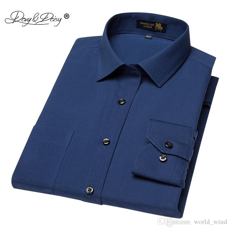 40e520046e Compre DAVYDAISY Alta Qualidade Linha De Algodão Homens Camisa Masculina  Camisa De Vestido Dos Homens De Manga Comprida Camisas Ocasionais Camisa  Social ...