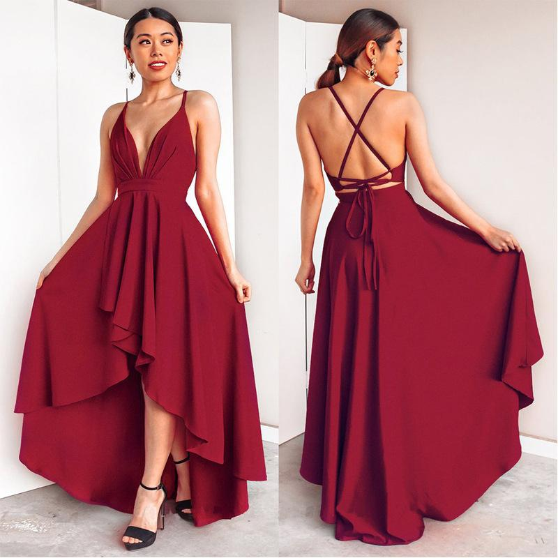Burgundy Dress For Wedding Party Elegant A Line Deep V Neck Spaghetti Strap High Low Sexy Bridesmaid Dresses With Cross Back Q190516