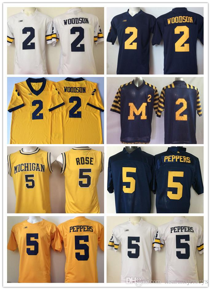 huge selection of 15859 b4026 2 Charles Woodson 5 Jabrill Peppers Rose NCAA Michigan Wolverines Jerseys  Mens All Stitched College Football Jerseys High School University
