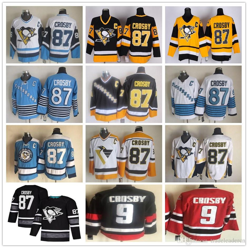 new products 9b726 9e5ae 2019 All Star #87 Sidney Crosby Vintage CCM Gold Yellow Black White  Pittsburgh Penguins Ice Hockey Jerseys 100% Stitched Free Shipping