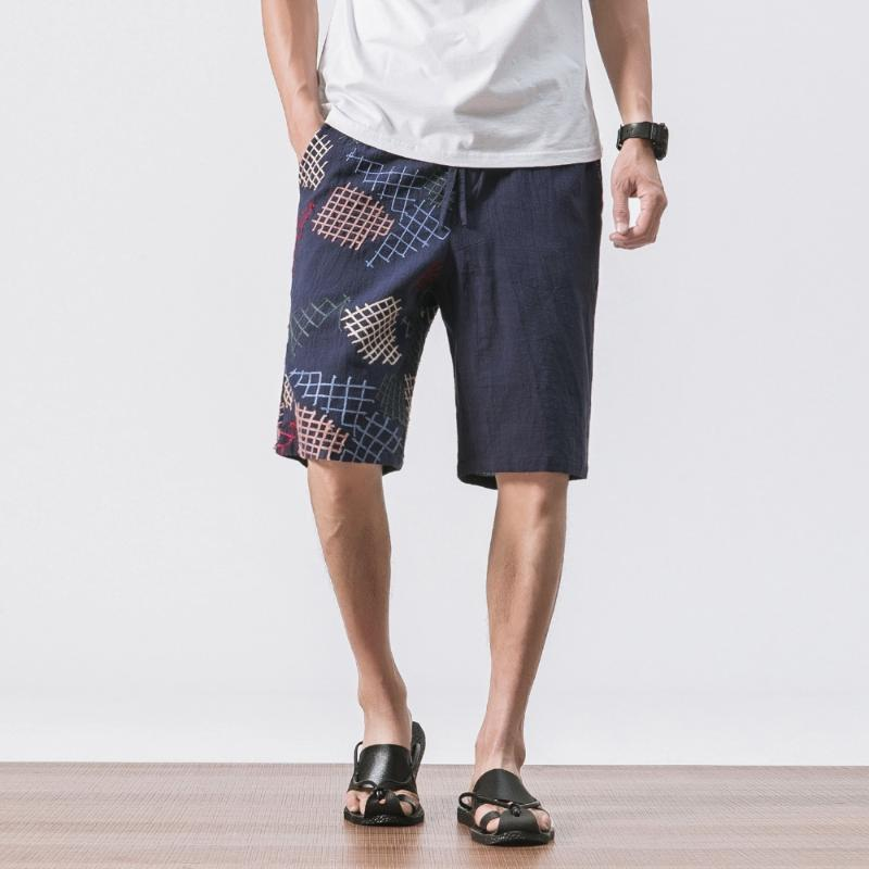 MRDONOO 2018 Summer Chinese style Men Loose Linen Shorts Knee Length Short Trousers Male Bermuda Casual Board Shorts A032-K56