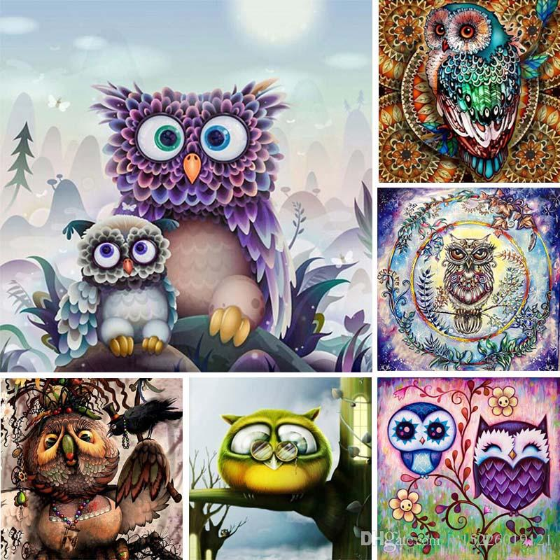 Full Drill 5d Diy Diamond Painting Owl Diamant Painting Cartoon Animal 3d Diamond Embroidery Scape Abstract Art Home Decor Y13
