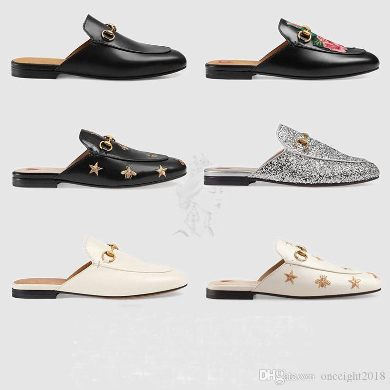 25f42a94d2d 2019 Designers Slides Shoes Sport Mules Princetown Women Slippers Mules  Flats Genuine Leather Fashion Metal Chain Ladies Casual Sandals Shoes From  ...
