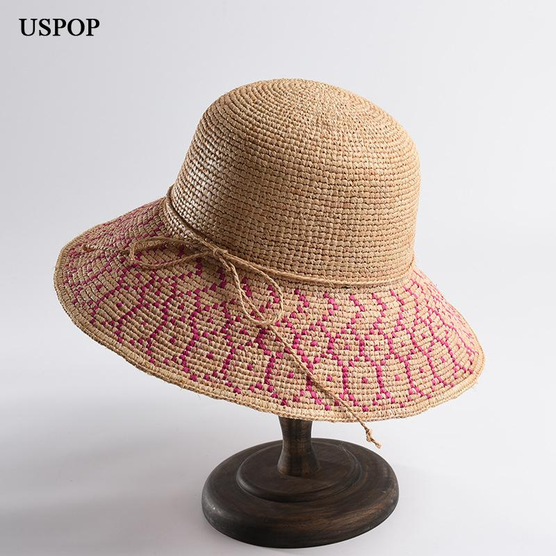 0621fdbce USPOP 2019 New Women Straw Hat Summer Wide Brim Natural Raffia Sun ...