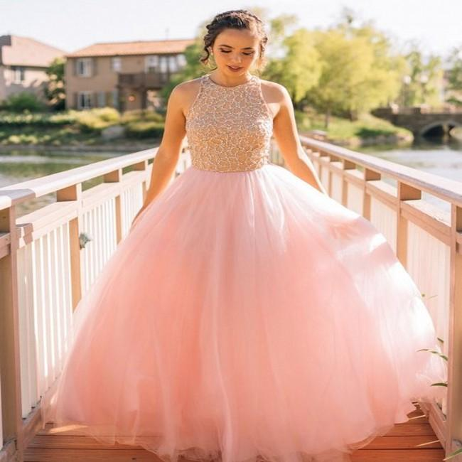 e490aad5602 Elegant Pink Tulle Beaded Long Puffy Prom Dresses 2019 New Jewel Neck  Sleeveless Floor Length Evening Party Sweet 16 Quinceanera Dresses Prom  Dresses Ball ...
