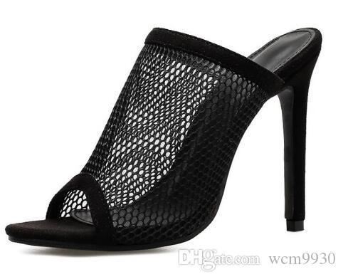 e8b40b7c2 Compre Sandalias De Punta Abierta De Verano Para Mujer Diapositivas De Mula  Agujero De Malla Recortar Huecos Stilettos Tacones Altos Zapatos Casuales  Negro ...