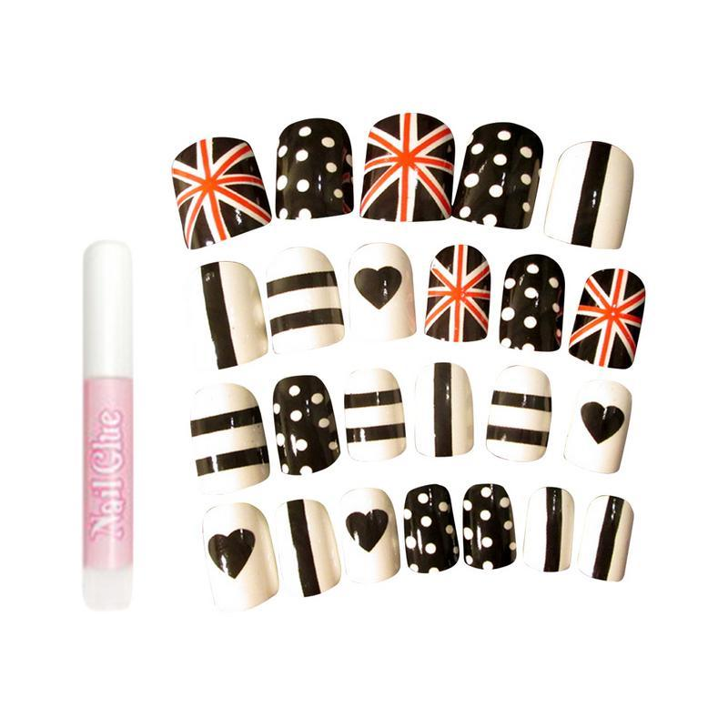 Supply 24pcs Fake Nail Tips Fashionable The Union Jack Love Wave Point Stripe Printed Manicure Sticker Nail Art Accessories Beauty & Health
