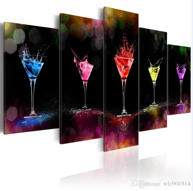 5 Panels Hot Canvas Print Martini Landscape Poster Modern Home Wall Decor Painting Canvas Printing Art Hd Print Painting