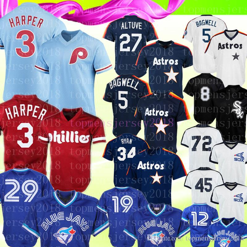 competitive price 098a7 22620 Retro Phillies 3 Bryce Blue Jays 29 Joe Carter 12 Alomar Jersey 27 Jose  Altuve 5 Jeff Bagwell 8 Bo Jackson 19 Bautista Baseball Jerseys