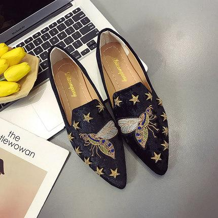 Women Flat Shoes Casual Slip On Single Cloth Shoes Lady Loafer Pointed Toe Fashion Plus Size Espadrilles Female Footwear new R04
