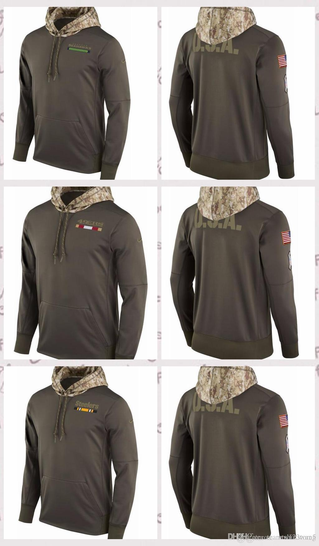 online store 4850d b7c96 Men s Pittsburgh Steelers San Francisco 49ers Seattle Seahawks Salute to  Service 2017 Therma-FIT Performance Hoodie