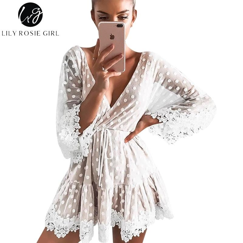 24814c90eb7e 2019 Lily Rosie Girl White Lace Dot Women Mini Dresses 2018 Summer Sexy V  Neck Party Beach Mesh Dress Backless Flare Sleeve Vestidos Y181227 From  Zhengrui01 ...