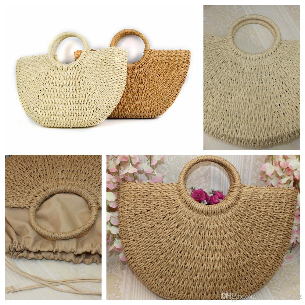 Round moon shaped Straw Totes Bag Hand Woven Beach travel party Bag Large Bucket Summer Bags Women Natural Handbag