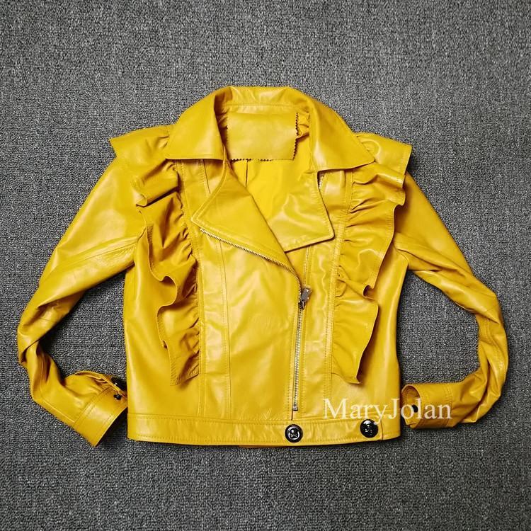 detailing 969f6 1287b MaryJolan Giacca da moto in pelle gialla con increspature Zipper Giacca da  donna corta in tessuto con maniche lunghe da party Dolce arricciatura OL ...