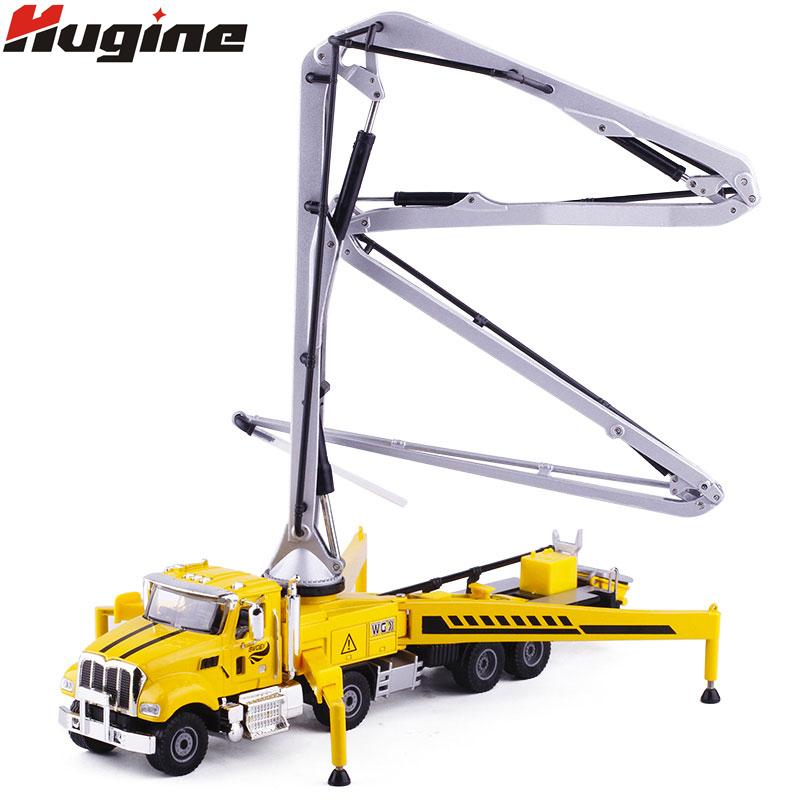 Alloy Diecast Concrete Pump Truck 1:55 80cm Folding Pipe 4 Telescope Stand  Construction Truck Model Collection Gift For Kids Toy J190525