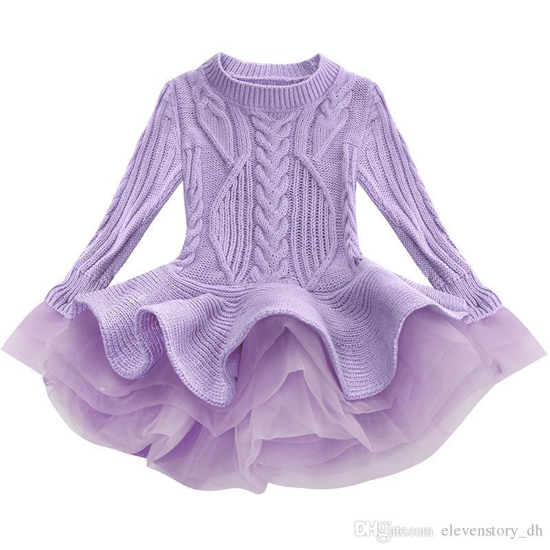 884b7ca47 2019 2 To 8 Years Baby Girls Spring Fall Sweater Dresses