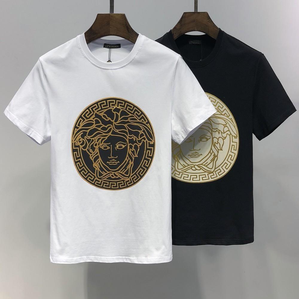 40e867820 Compre Ver Verão Novo Em Torno Do Pescoço Dos Homens T Shirt Moda  Confortável Com Tecido De Algodão Golden Medusa Padrão De Crachá De  Dh__shoes, ...
