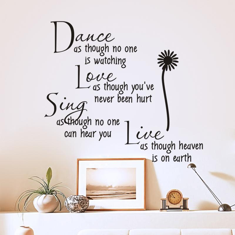 dance as though no one is watching love quote wall decals removable pvc  wall stickers home decor bedroom diy wall art