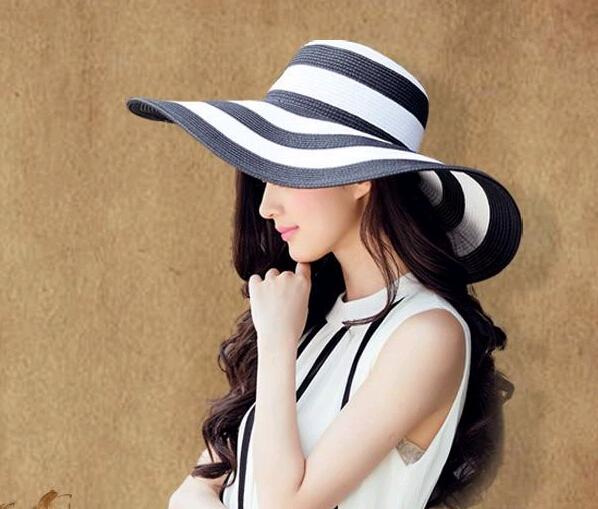 32459a85 Women Wide Large Big Brim Hats Summer Beach Sun Straw Beach Derby Blue  Black And White Stripe Hat Caps Flexible Packing Knit Hats Bailey Hats From  ...
