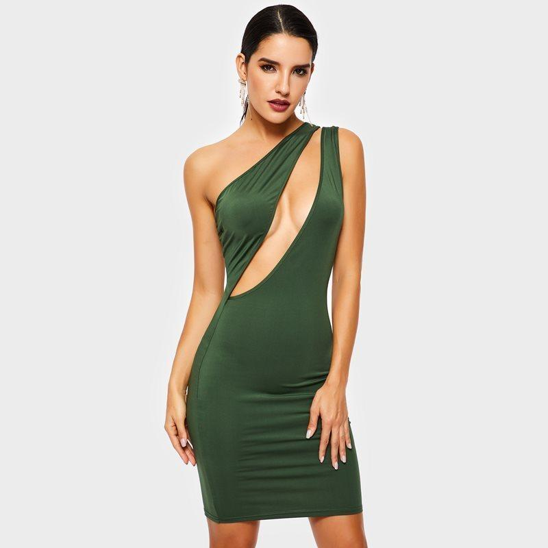 1267584507283 Evening Party Club Wear Green Short Bodycon Dress Women Oblique One Off  Shoulder Hollow Out Backless Date Beach Skinny Dresses C19041501