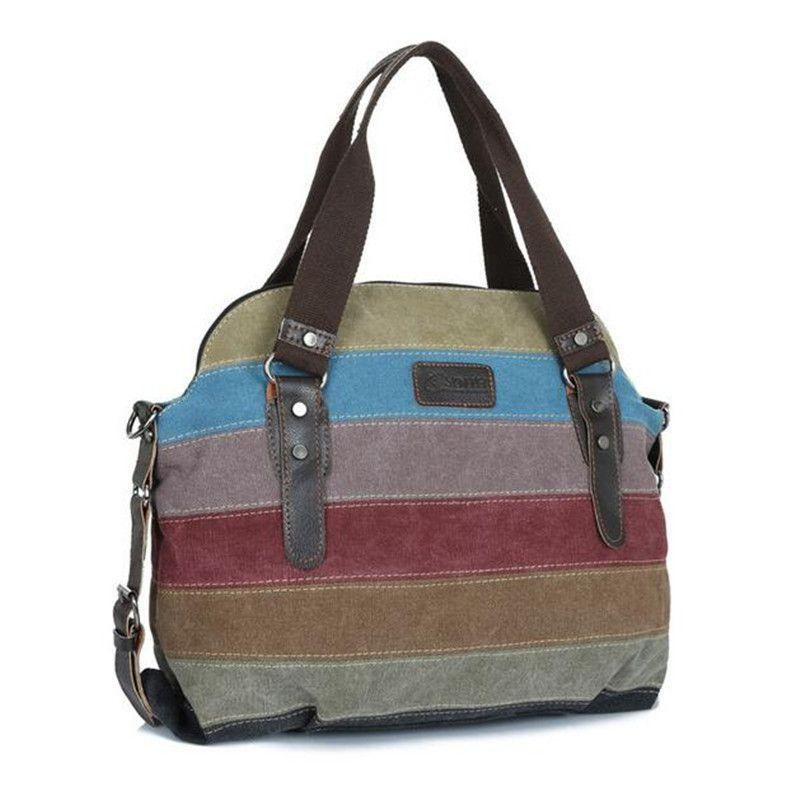 7df5de82905d New Arrivals Women Brand Large Pocket Casual Tote Vintage Style Handbag  Shoulder Crossbody Handbags Canvas Color Stripe Capacity Bags Sac A Laptop  Bags ...