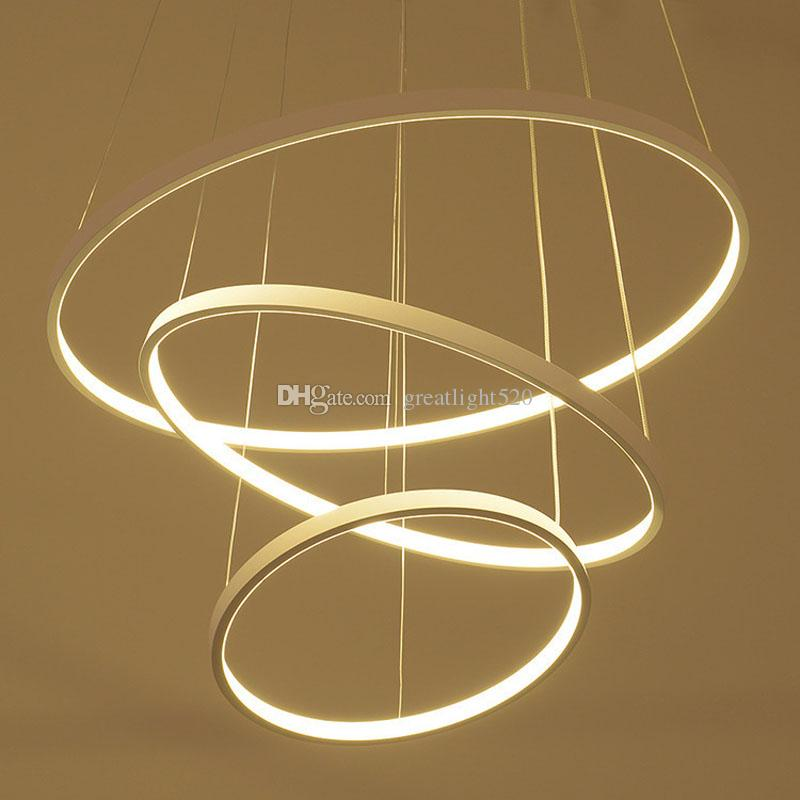 Modern Circular Ring Pendant Lights 3/2/1 Circle Rings Acrylic Aluminum body LED Lighting Ceiling Lamp Fixtures