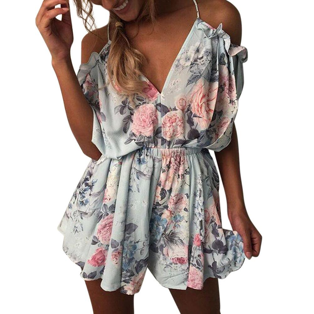 78b2999d1522 Playsuit Women Summer Printing V Neck Short Sleeve Mini Jumpsuit Evening  Party Beach Jumpsuit Rompers Women Top Canada 2019 From Hoto