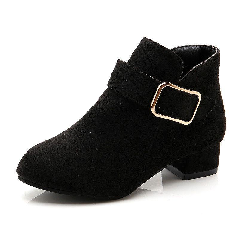 1f561c69737 CR11 Girls Autumn Winter Boots High-heeled Children's Shoes Kids Fashion  Princess Chic Square Heels Big Girl Mum Boots